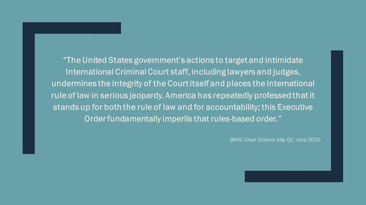 BHRC stands in solidarity with our colleagues at the #ICC  and call on the international community to provide those targeted by the #USA Exec Order with full protection in the pursuit of their vital work.  Read our statement⬇️  https://t.co/dIgGBrPSyb https://t.co/26ddWH4n9v