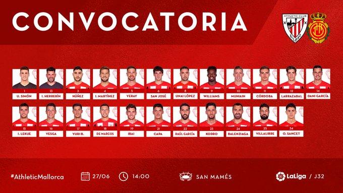 EbbxiNlXkAAWkny?format=jpg&name=small Garitano convoca a 23 jugadores para recibir al Mallorca - Comunio-Biwenger