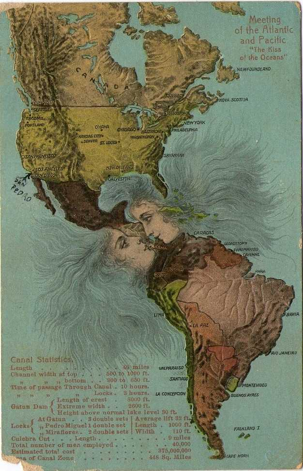 The Kiss of the oceans - postcard from 1923 #illustration #Panama
