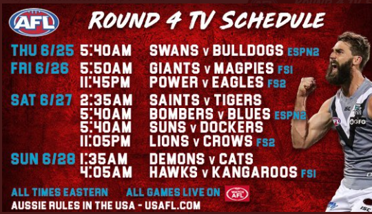 We are seeing solid action on Aussie Rules. Definitely helps that we can watch in the states.