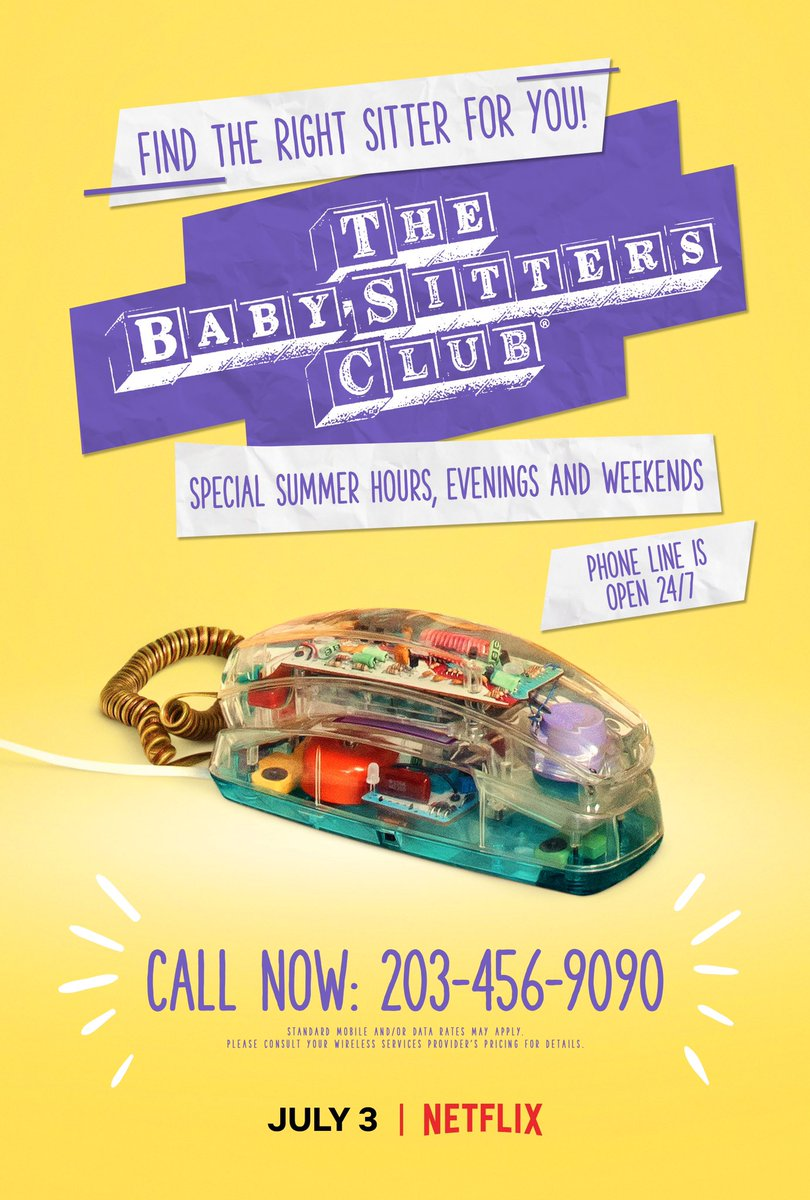 The BSC phone lines are officially open! Call now and let the countdown begin to July 3 when The Baby-Sitters Club premieres on Netflix ☎️💜😍 #babysittersclub