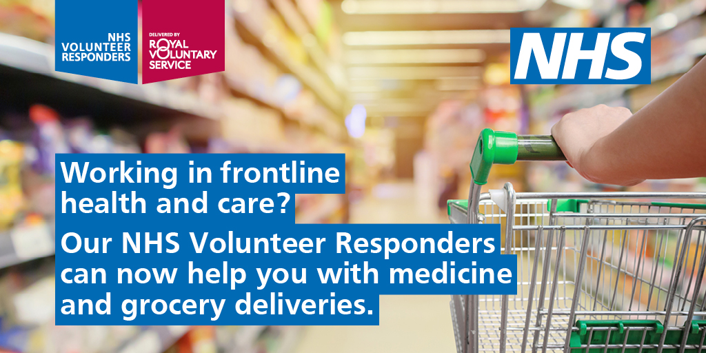 The #NHSVolunteerResponders scheme has been expanded to include #OurNHSPeople working on the frontline — so you can get support with essential tasks like shopping while you carry out your vital work. 👏 Simply call 0808 196 3646. nhsvolunteerresponders.org.uk