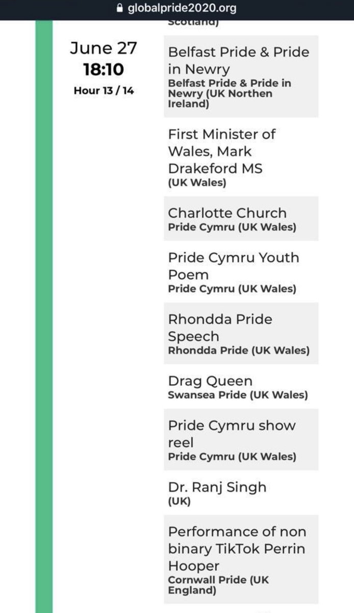 So happy to be able to contribute in a small way to this phenomenal event ⁦@GlobalPride2020⁩ fab work ⁦@RhonddaPride⁩ ⁦@PrideCymru⁩ ⁦@swanseapride⁩ ⁦@charlottechurch⁩ ⁦@fmwales⁩ this is the timings of the Welsh section 🏴󠁧󠁢󠁷󠁬󠁳󠁿 https://t.co/R6oJX9RJRC