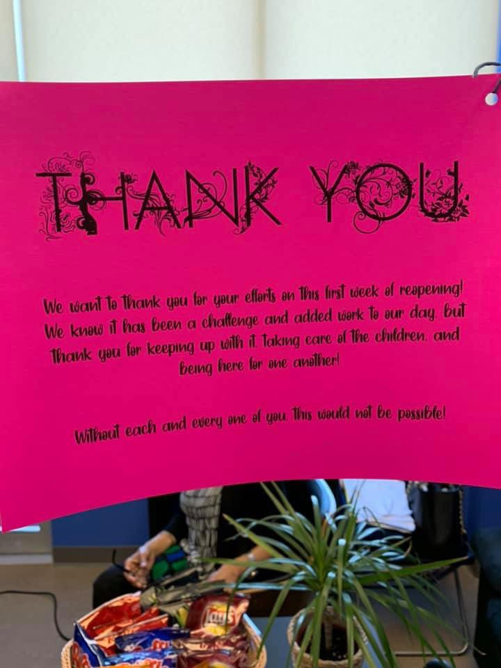 A BIG THANK YOU to our educators, cook and administrative team on our first week of reopening! They have done such a tremendous job in ensuring the safety and well being of our children who had joined us in our return this week!  #Educators #Daycare pic.twitter.com/qsCMpt6hbN