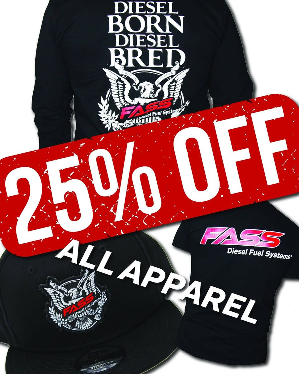 """25% Off ALL FASS Apparel! Click the link below and use coupon code """"summer25"""" at checkout! Sale ends tomorrow, 6/27!   Click here to shop https://apparel.fassride.com/  #fass #fueledbyfass #fassfuelsystems #cummins #powerstroke #duramaxpic.twitter.com/7KdXrpnloO"""