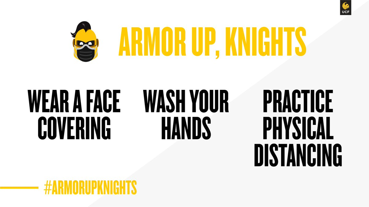 We're here with your daily reminder to #ArmorUpKnights 😷⚔️  😷 Wear a face covering 🧼 Wash your hands ↔️ Practice physical distancing https://t.co/w1lAs2AeFi
