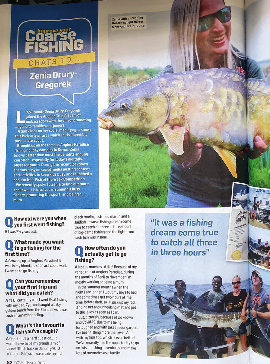 A little birdie just told me that I'm in this months Improve Your Coarse Fishing!! 4 whole pages!!  Please make sure you grab yourself a copy!! 🤗💖🎣🍀  #improveyourcoarsefishing #ladyangler #girlswhofish #thisgirlcan #anglingtrust https://t.co/4ESIBZa2ZA