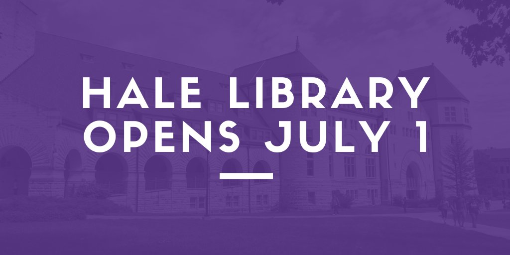 The 2nd floor of Hale Library will be open to the public starting July 1. The library will be open Mon thru Fri from 8-5pm.  Visitors will need to wear a mask and follow social distancing guidelines. More info here: https://t.co/8fxvQOewAn  We're excited to see you back in Hale! https://t.co/piHhgVTmCh