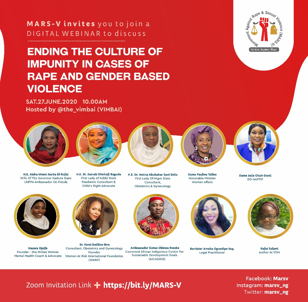 """Join the coversation to #EndRape and #GenderBasedViolence  webinar organised by @marsv_ng and hosted by @The_Vimbai  Theme: """"Ending the Culture of Impunity in Cases of Rape and Gender Based Violence""""   Date: Jun 27, 2020   Time: 10:00 AM    Register: https://t.co/oLHuF0MUY6 https://t.co/cinC1418ni"""