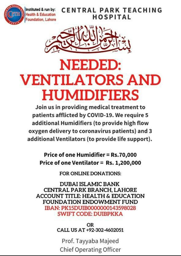 """- At times like these, we need to come together and support humanity's greatest challenges.  Donate generously to """"Central Park Teaching Hospital"""" #Lahore #Pakistan"""