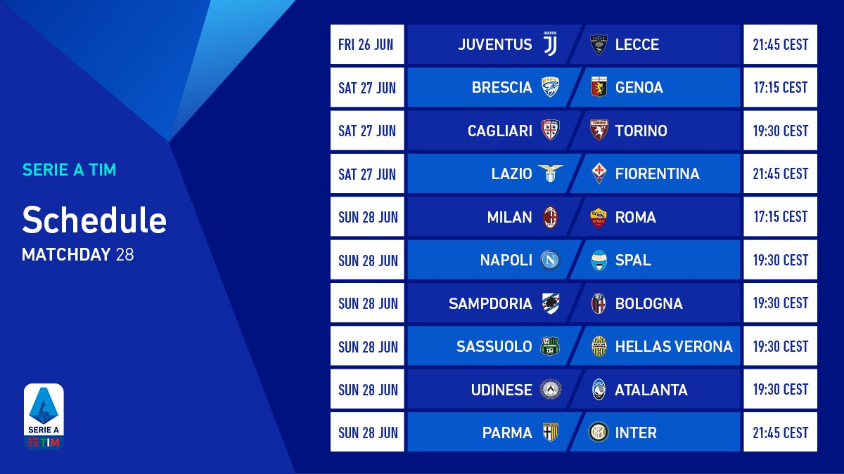 We start tonight! Heres the schedule of Matchday 28. 🔥 #SerieATIM #WeAreCalcio