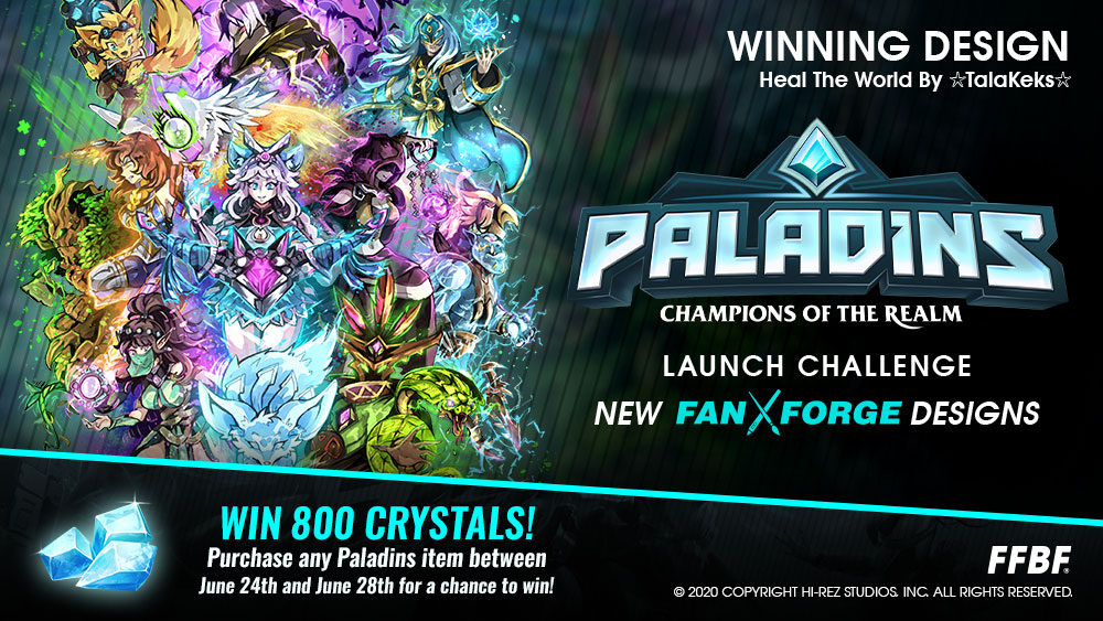 Anyone who purchases merch from For Fans by Fans from the 24th until the 28th will be entered to win 800 Crystals. There will be 5 winners each day! Order yours now: bit.ly/FFBF_PALADINS Use code Paladins20 for 20% off!
