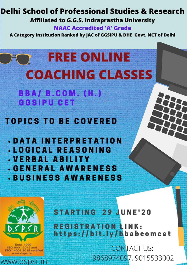 Free #onlinePreparation for #GGSIPU #CET for #BBA & #BCOM with #DSPSR starting June 29, 2020. Topics: #DataInterpretation, #LogicalReasoning, #VerbalAbility, #GK & #BusinessAwareness Registration Link  https://bit.ly/bbabcomcet  Contact 9868974097/ 9015533002.pic.twitter.com/iPdzRDUjEg