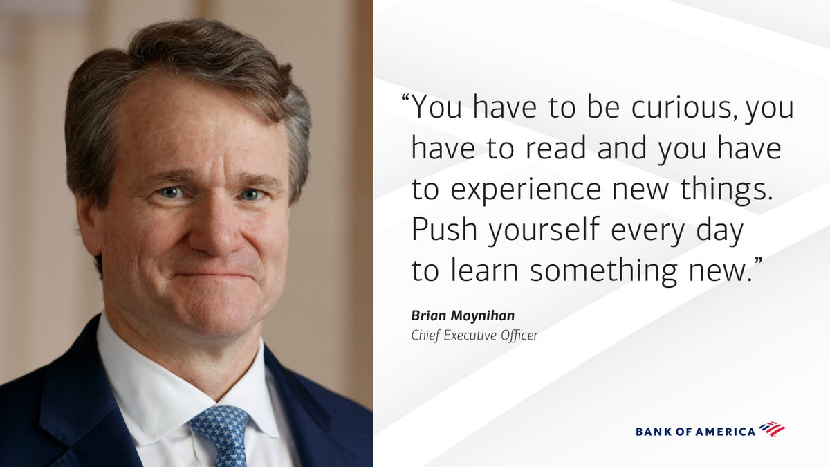 CEO Brian Moynihan virtually met the @BofA_News summer #intern class and shared words of wisdom that we can all use. Agree, one of the best pieces of advice I ever received was to never stop learning. Good luck to this years class!