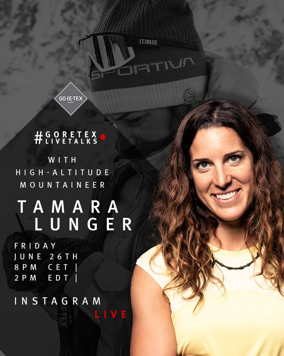 Tune in at 8 PM CET 👉 we will be #LIVE 🔴📹 on @goretexeu with athlete and high-altitude Tamara Lunger and @nicozacek Be part of the GORE-TEX LIVE TALKS, get first answers to your questions: gtx.to/31ls1to . | Friday, June 26, 2020 | 8 PM CET | #GORETEX