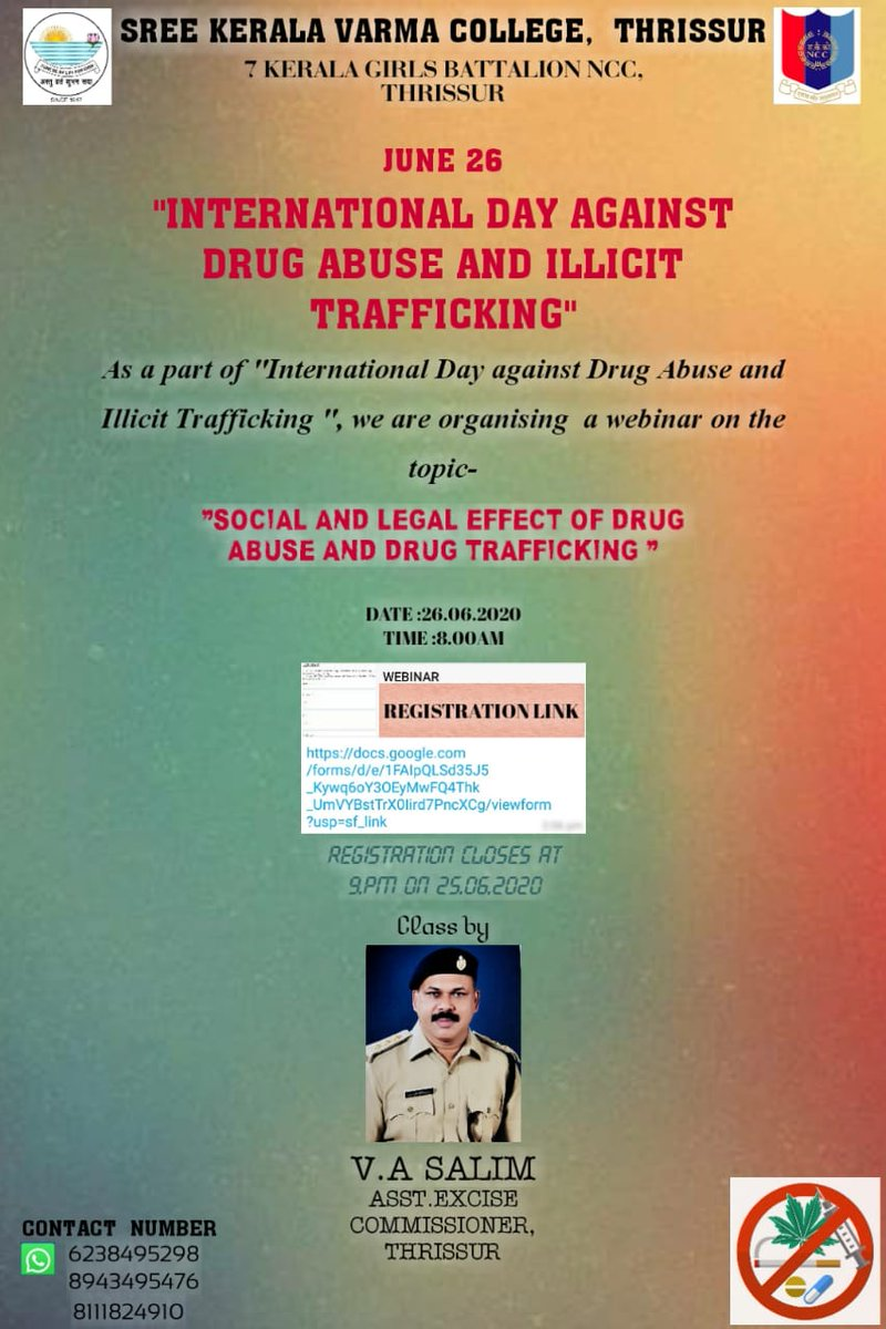 Cadets of Sree Kerala Varma College, Thrissur under 7G Bn successfully conducted Webinar with Asst Commissioner Of Excise on the occasion of #InternationalDayAgainstDrugAbuse and Illicit Trafficking. Commanding Officer 7G and Principal also attended. #SayNoToDrugs @HQ_DG_NCC