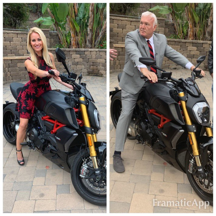 We were gonna race, but Paul was scared! 😂😉 #whoworeitbetter ?   Thanks Dave and @clintaugustradio for bringing the #ducati #diavel1260 #needforspeed #notenoughhelmets @kusinews @kusi_gmsd  #gmsd @PPRPapaPig https://t.co/lyld6MAUO4