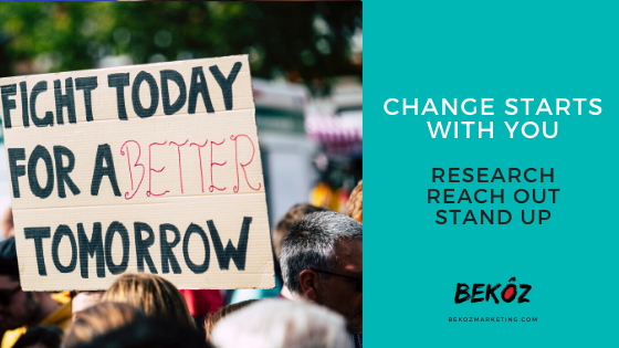 These are three steps that you can take to make a difference, champion a kôz, and become a change agent. - Research - Reach Out - Stand Up Start your journey today. Check out our blog: bit.ly/37IrF16. #BekozItMatters #BekozItCreatesChange