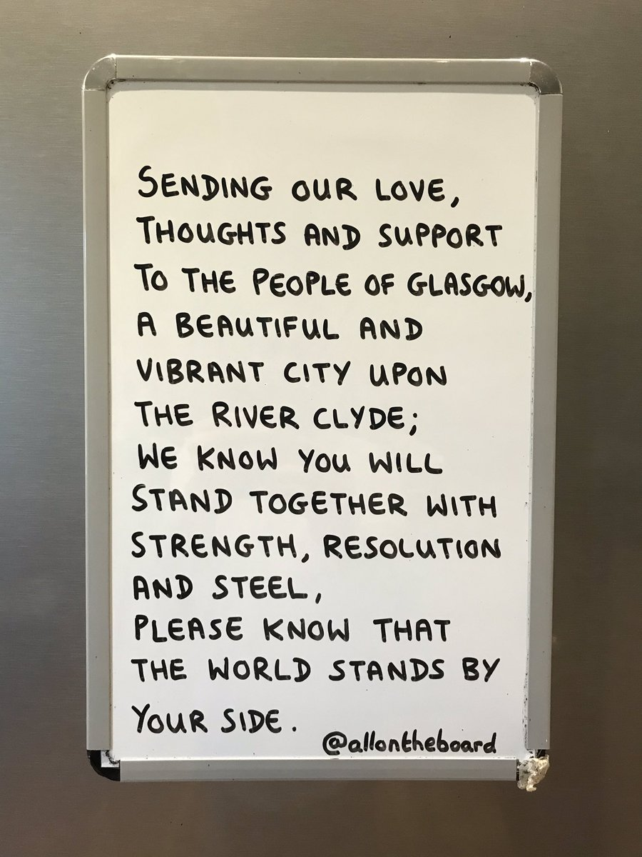 Sending our love, thoughts and support to the people of Glasgow. @allontheboard #Glasgow #WestGeorgeStreet #allontheboard