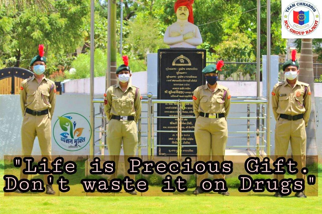 #NationalCadetCorps #Gujarat #AntiDrugsDay Cadets of #26GujBn #Surendranagar in solidarity with #AntiDrugsDay @SpokespersonMoD @HQ_DG_NCC @drajaykumar_ias @PIBAhmedabad @DDNewsGujarati @FIFPLtd @MoHFW_INDIA @shripadynaik