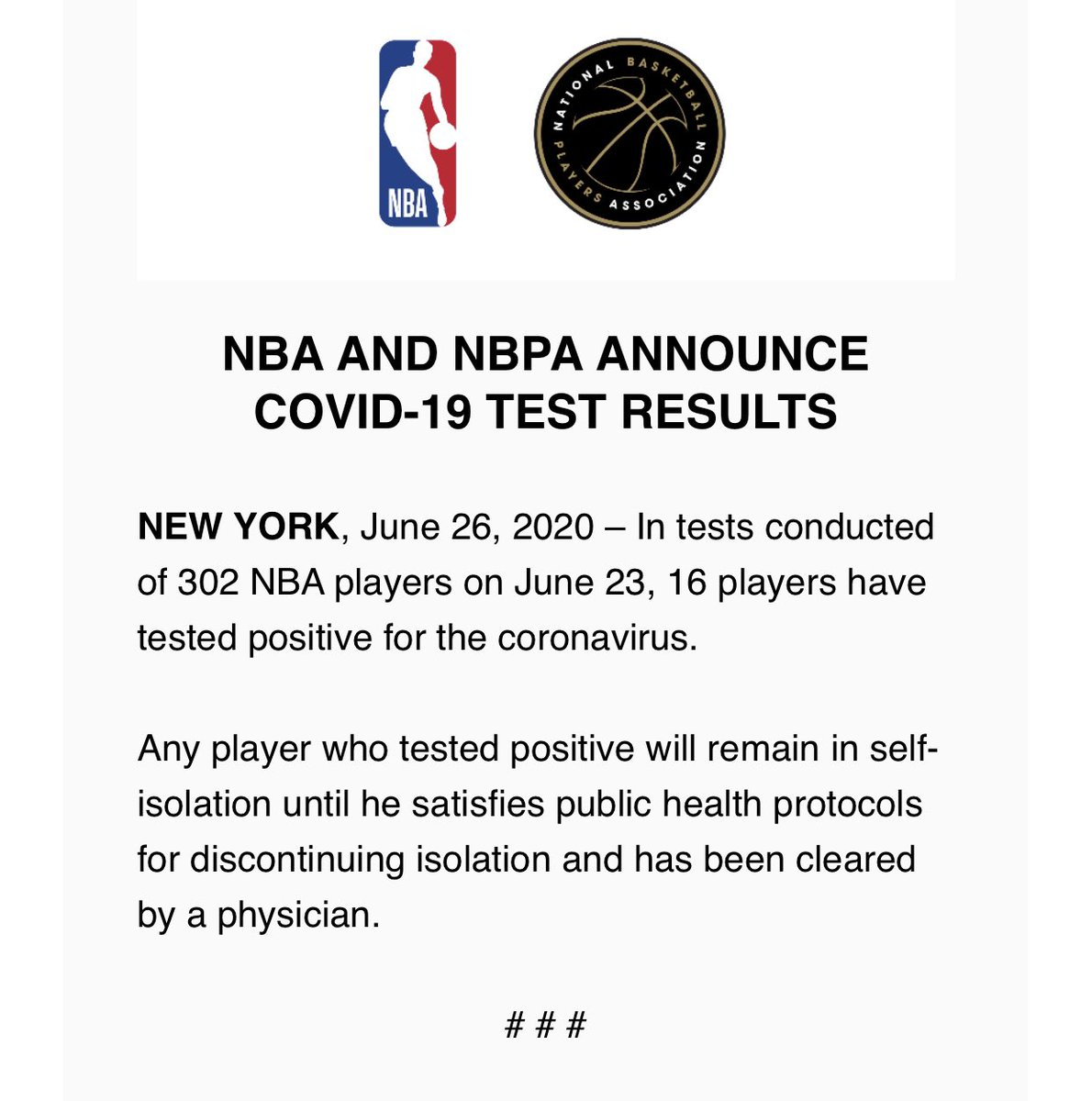 NBA and NBPA announce 16 of 302 tested players tested positive for COVID-19. They will remain in self-isolation and then must be cleared by a physician. https://t.co/pBLSAdYEac