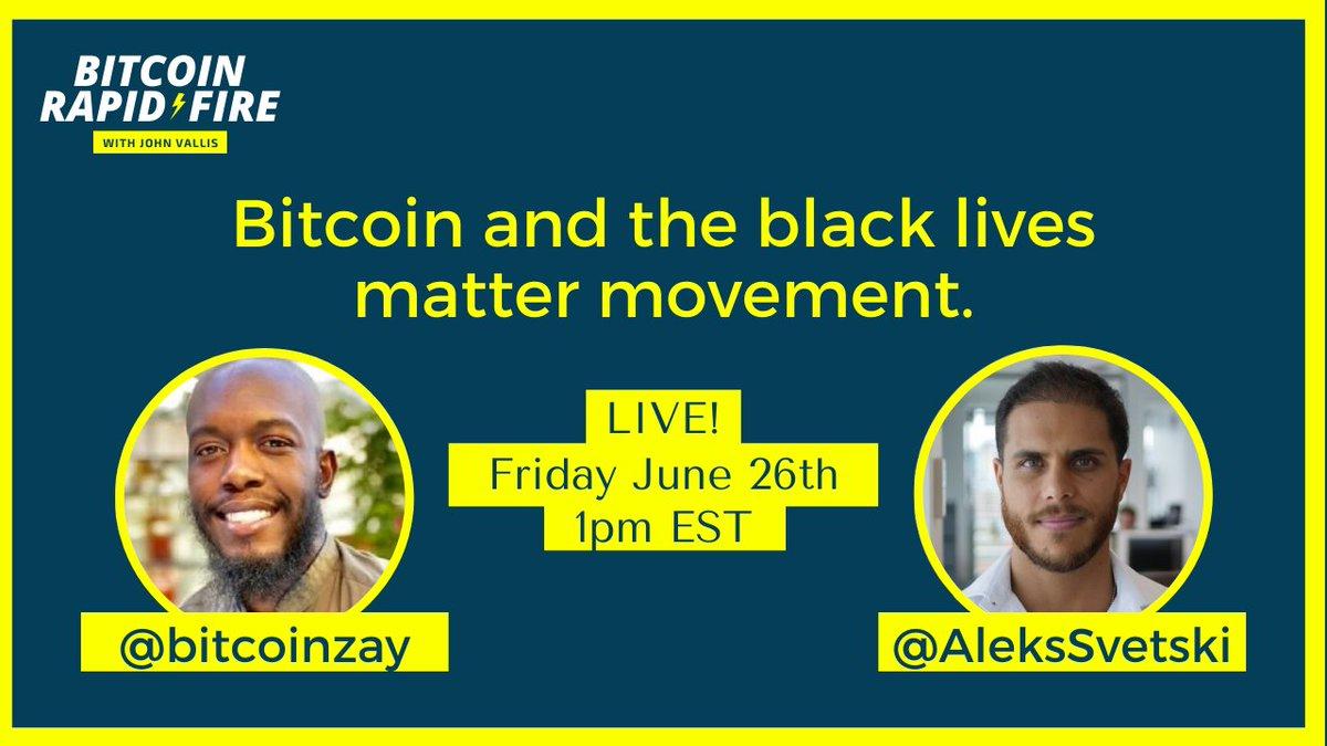 Tune in at 1pm EST today! @bitcoinzay @AleksSvetski