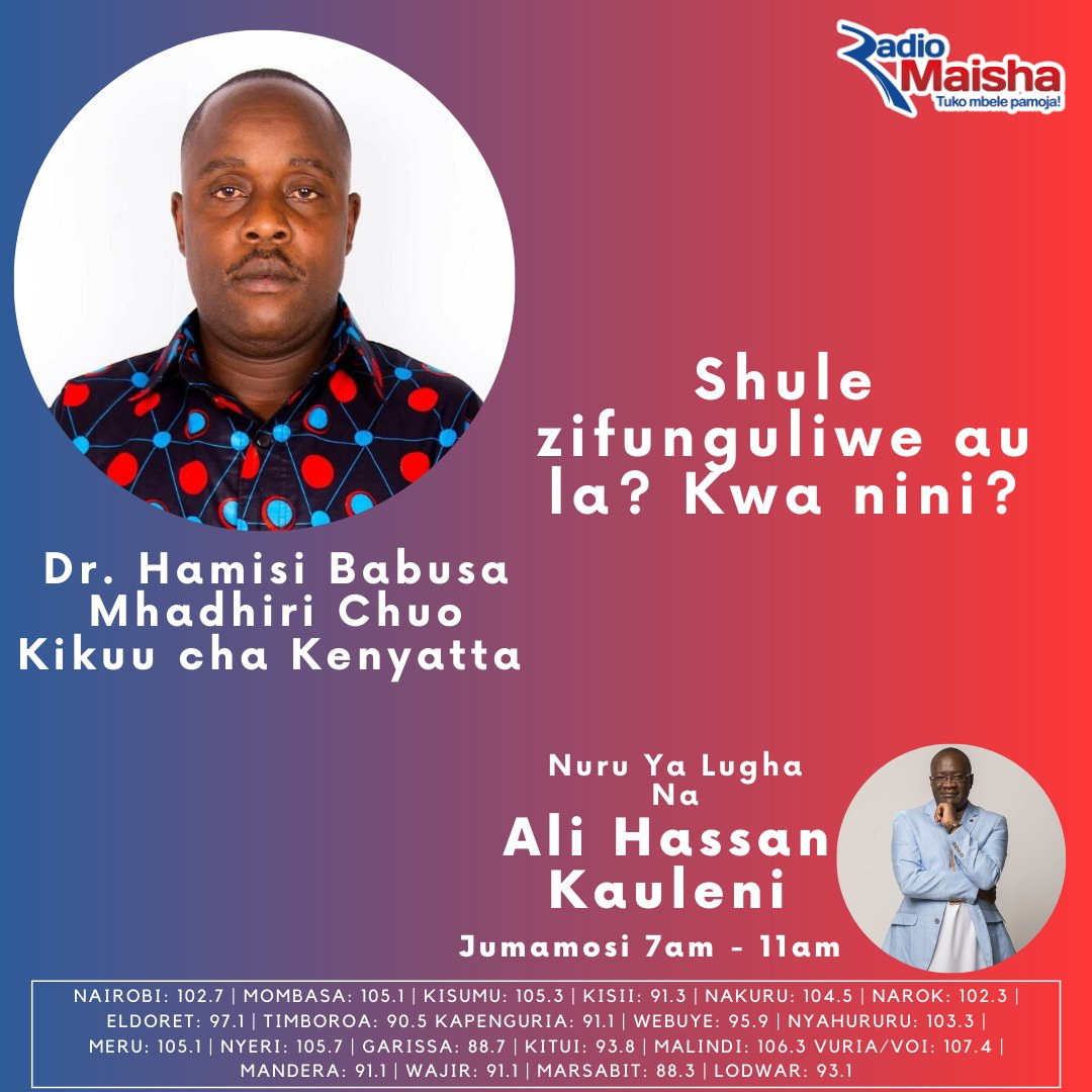 Shule zifunguliwe au la? Kwa nini? Ndio tutakuwa tunajadili na Dr. Hamisi Babusa katika Nuru Ya Lugha leo. #NuruYaLugha