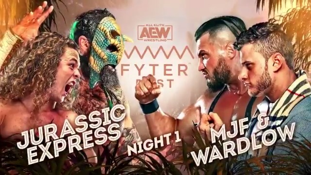Tension is at an all-time high between both camps, & at #FyterFest, they will finally collide, it will be #JurassicExpress vs. @RealWardlow & @The_MJF! Watch night one of #FyterFest for FREE on Wednesday, July 1st at 8e7c on @TNTDrama.