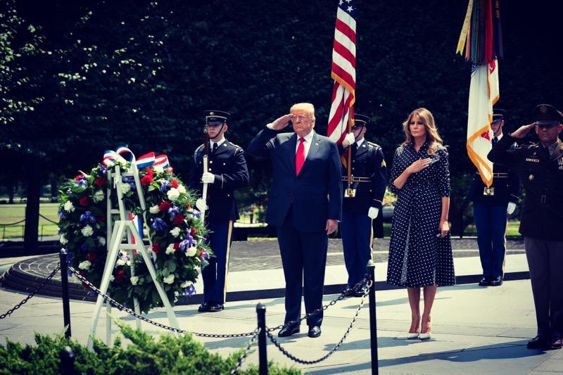 Yesterday, @POTUS and I visited the Korean War Veterans Memorial to commemorate 70 years since the start of the Korean War & to pay our respects to the brave Americans who lost their lives fighting for our freedoms.