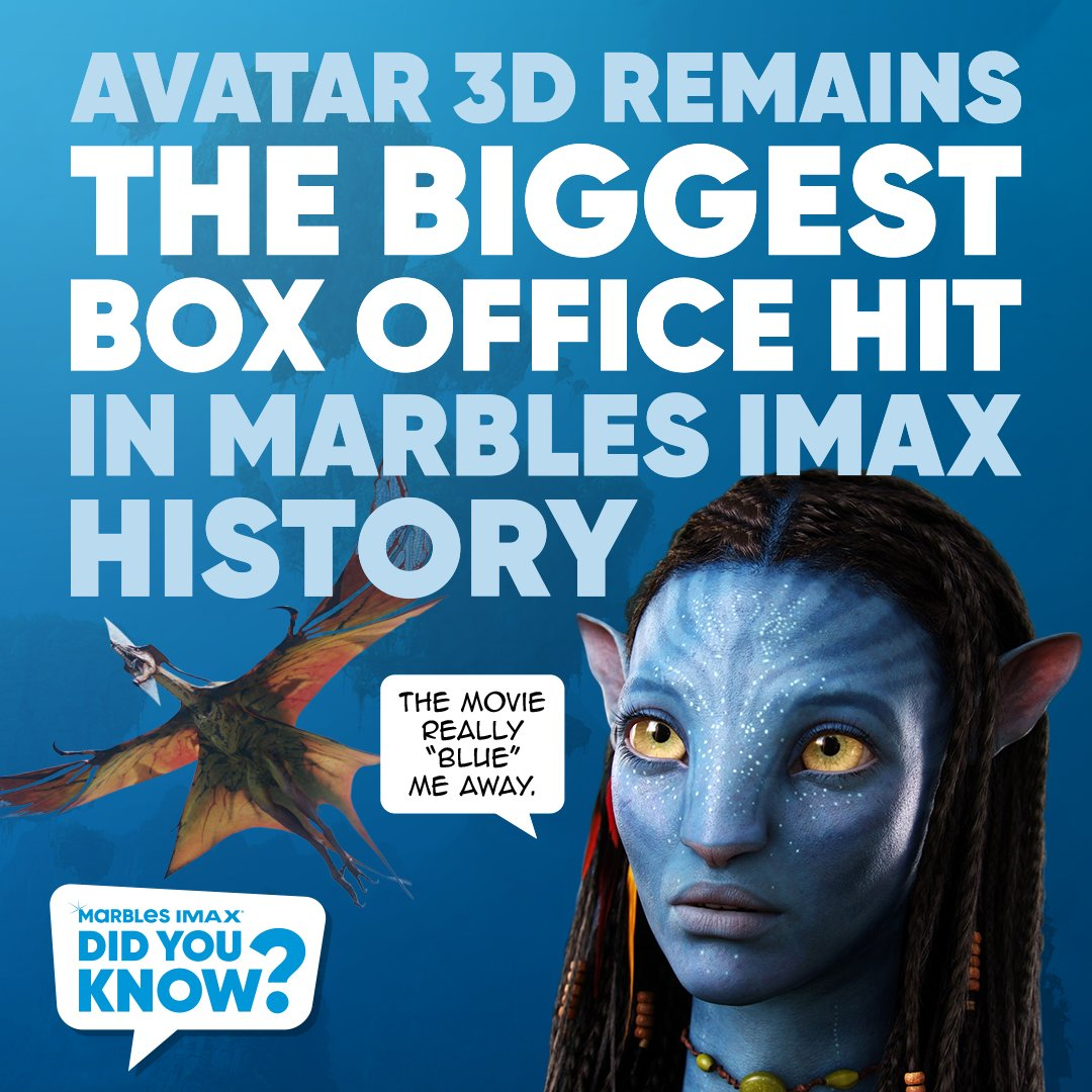 Did you know Avatar 3D remains the biggest box office hit in Marbles IMAX history? @Avatar was the first movie to be shot with a 3D cameras, released in 3D and in IMAX 3D to be nominated for the Best Picture Academy Award.  Did you see Avatar at Marbles IMAX when it was released? https://t.co/gouRy6ScwM