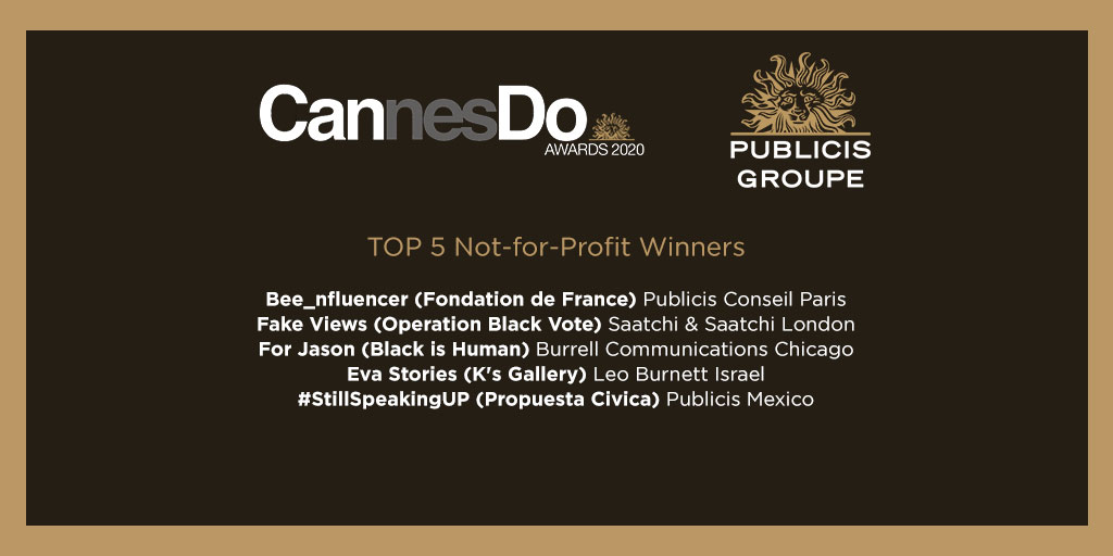 Congratulations to our Top 5 Not-for-Profit Winners #PublicisCannesDoAwards https://t.co/izOQMOZ6hh