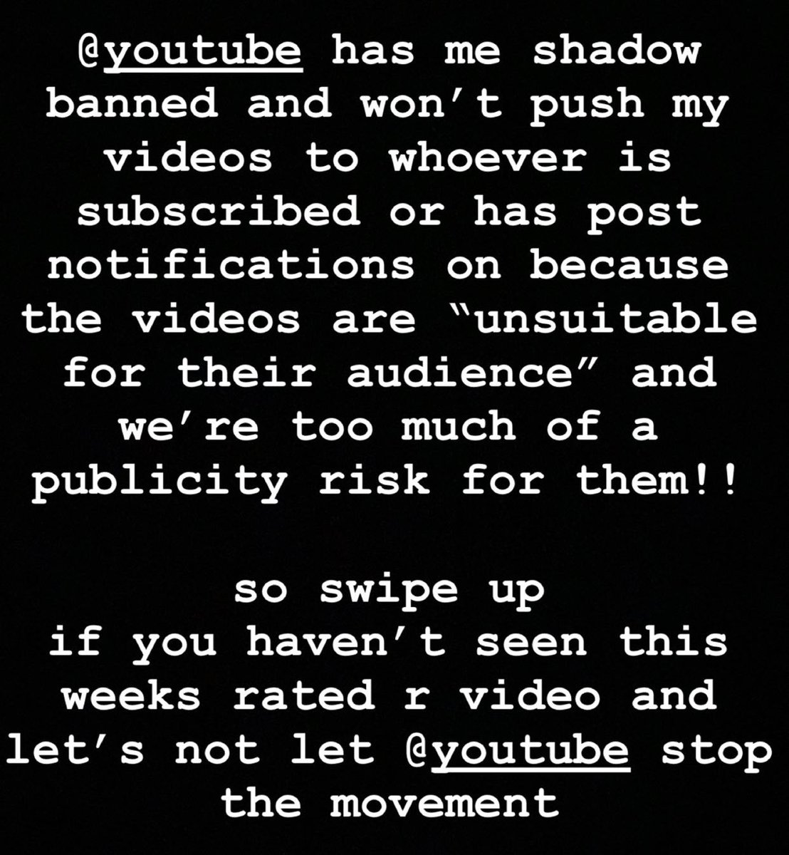 """let's not let @youtube win here  they do this to creators whenever they please  whenever they see a risk  whenever they want to protect themselves   i'm one of youtube's """"riskiest"""" creators and they're punishing me for it   new video is out👇🏼  https://t.co/Lfoy8RUvB8 https://t.co/uL3iXTlP1q"""
