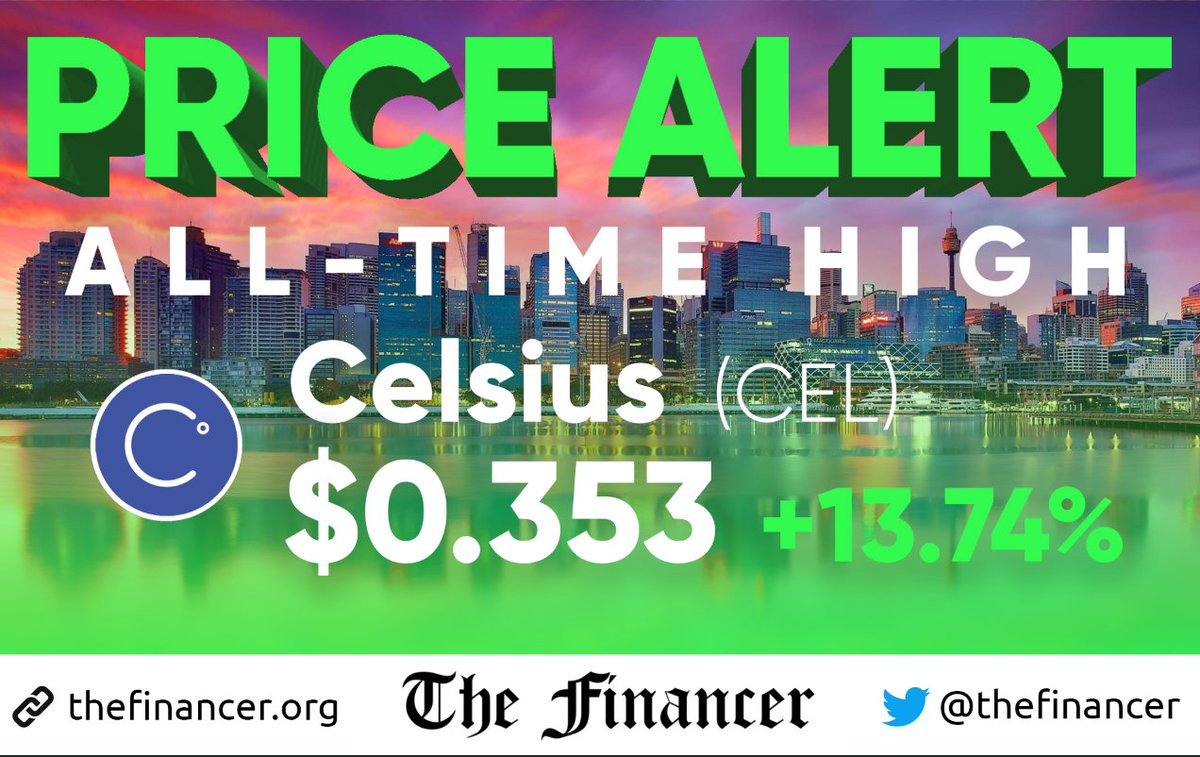 🚨 CRYPTO PRICE ALERT: $CEL reaching yet another all-time high, at $0.353 (+13.74%). @CelsiusNetwork @Mashinsky