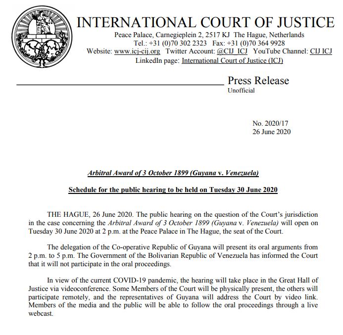 #Atención La CIJ publica hoy #26Jun procedimientos para la inusual audiencia oral VIRTUAL en La Haya para el #30Jun. Repiten una información que había sido reseñada el #29May para corroborar las intenciones de esta Corte a favor de Guyana. #Esequibo https://t.co/GIxqgt0fUd