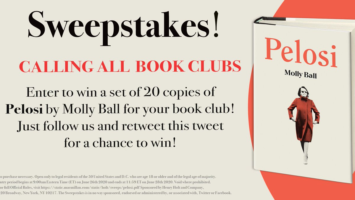 🚨#Sweepstakes alert!🚨 Calling all #bookclubs!  FOLLOW us and RETWEET this tweet to enter for a chance to win a set of 20 copies of PELOSI by @mollyesque for your book club!! 🎉📚 (U.S. only; ends 6/28/20) #pelosibook https://t.co/gn5P3sjcbl