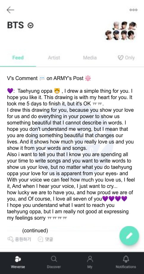Vs Comment 💬 on ARMYs Post ❇️ 💜: Taehyung oppa 🐯 , I drew a simple thing for you. I hope you like it. This drawing is with my heart for you. It took me... Trans cr; Faith 🔗weverse.io/bts/feed/16314…