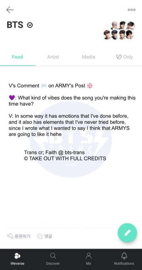 Vs Comment 💬 on ARMYs Post ❇️ 💜: What kind of vibes does the song youre making this time have? V: In some way it has emotions that Ive done before, and it also has elements that Ive never tried before, since I wrote what I... Trans cr; Faith 🔗weverse.io/bts/feed/16314…