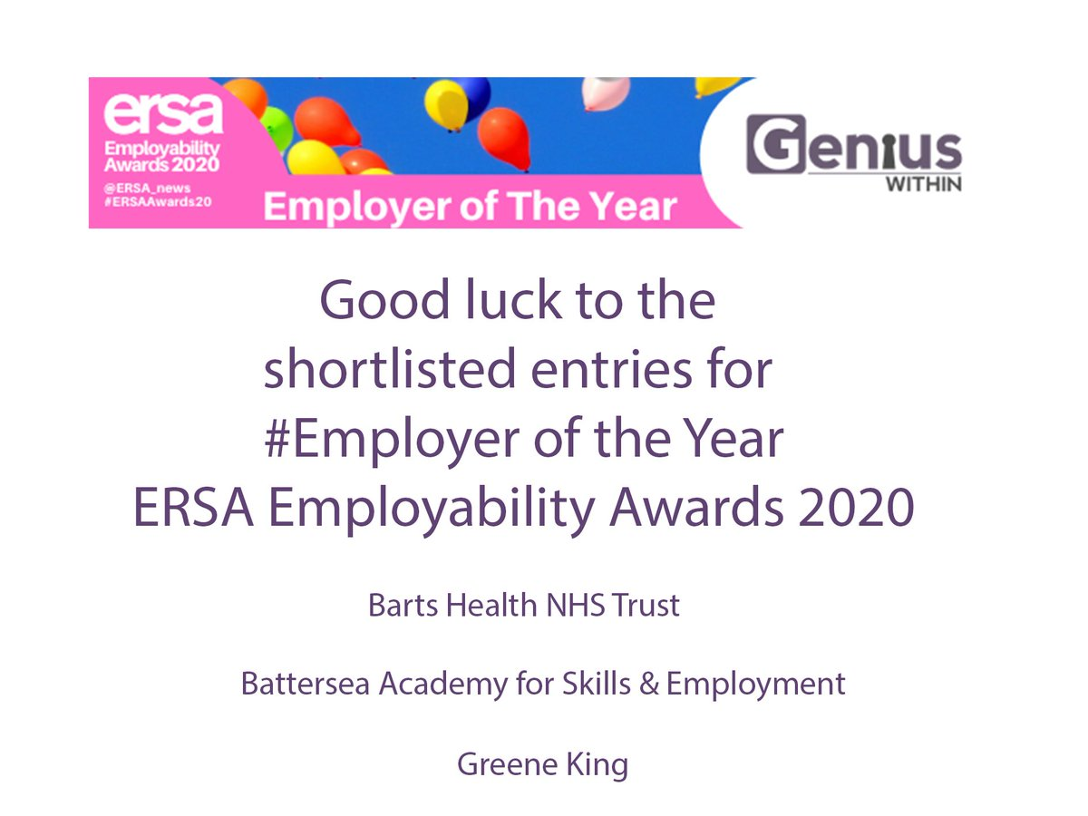 As proud sponsors of the #ERSA #EmployeroftheYear category, we are delighted to congratulate all the shortlisted nominees - wishing you all the very best of luck - you are all winners in our eyes #ERSAAwards20 #EmpDay20 #ERSAOnline #Employability https://t.co/QR3SiCUQMp