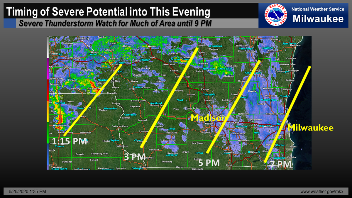Here is how we think the timing of the strong or severe storms will evolve across southern WI this afternoon into this evening. - PC #swiwx