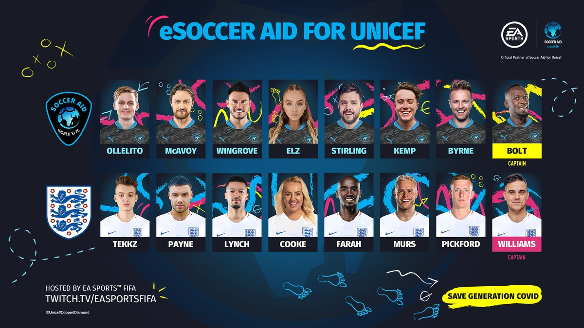 The squads are READY to go. It goes down tomorrow! Dont miss the eSoccer Aid for UNICEF Tournament on June 27 at 5PM UK!