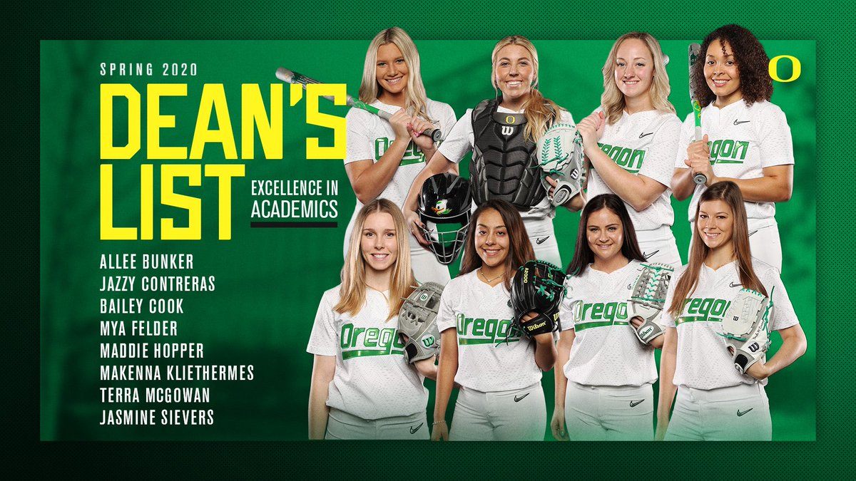 These 8️⃣ excelled in the classroom this spring to earn a spot on the Dean's List.  @Allee_Bunker  @jcontre29  @baileyyycook  @mya_felder5  @Madddiehopper  @mack0813  @terramcgowan11  @jassievers   #GoDucks https://t.co/2F4mQK4UFc