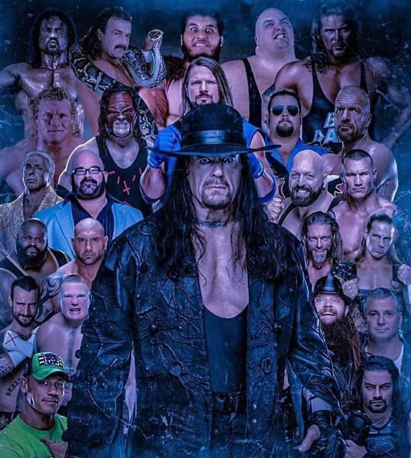 Everyone who has faced The Undertaker at Wrestlemania in one picture pic.twitter.com/PjAVPNVdXz  by WWE WrestleMania