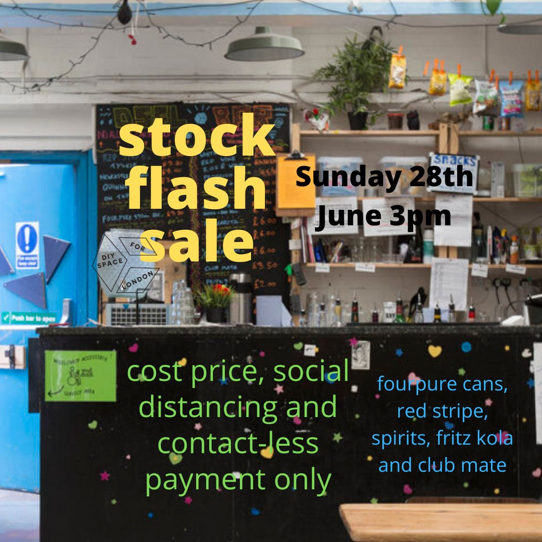 😱 bar stock flash sale 😱 this sunday 28th from 3pm (until its all gone) - cost prices - with social distancing - contact-less payment only - fourpure cans, red stripe, spirits, fritz kola and club mate! also pint glasses for sale...