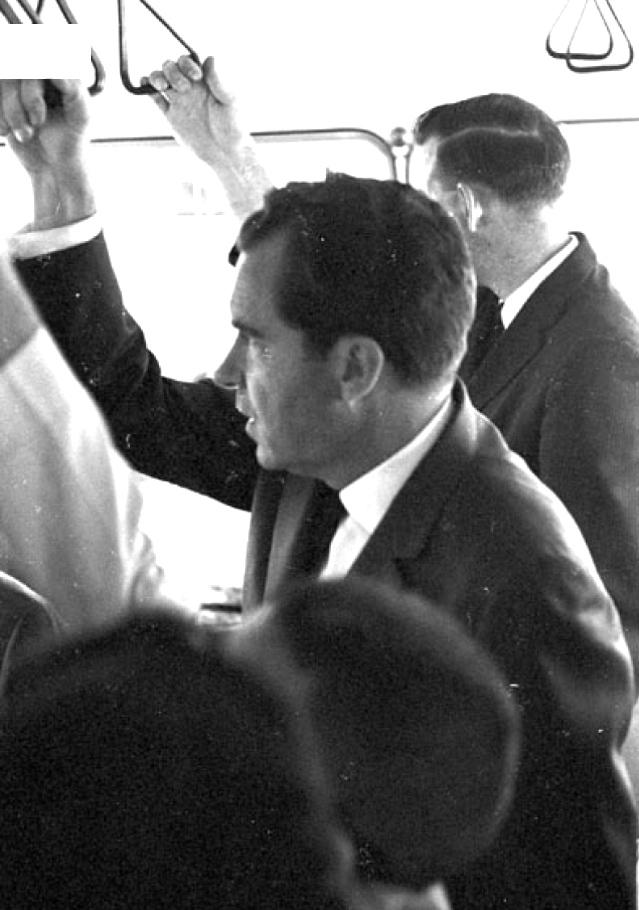 A month after JFK went to Berlin Wall, today 1963, his defeated 1960 opponent, Richard Nixon, arrived in Frankfurt, Germany, and rode on the airport shuttle: #Stripes