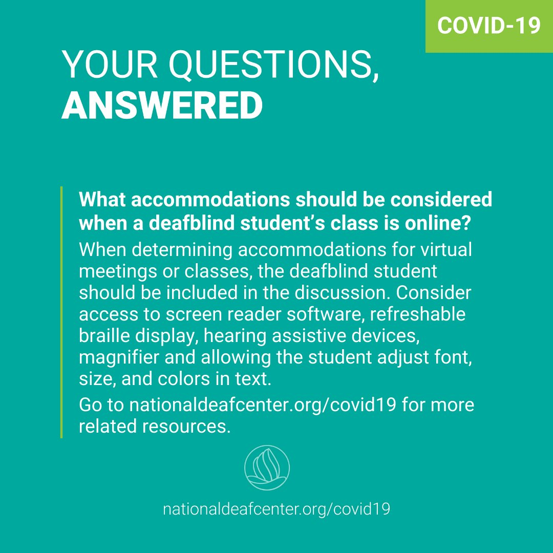 If a #DeafBlind student uses screen reader software, magnifier, or a #braille device, make sure they have access to those accommodations when their classes move online and check in often. For more strategies: https://t.co/03yEEqPmf4  #DeafBlindAwarenessWeek #HigherEd #DeafEd https://t.co/ySX9gJO5sL