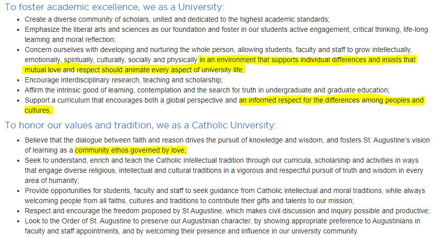 If you expected Villanova as a Catholic university to not stand by or accept the LGBTQ+ community, you should've read the university's mission statement. Accepting and respecting individual differences is a core aspect of my school, and no one should expect otherwise. https://t.co/7wEOHVtqoY https://t.co/O6iqgdu3cN