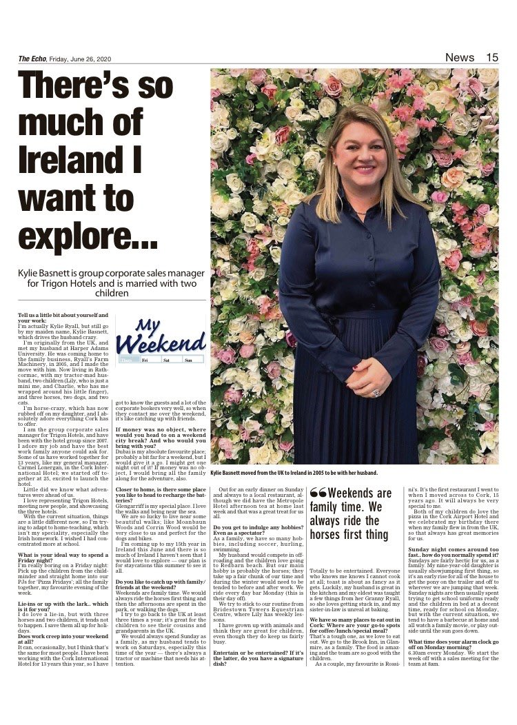 Thank you so much to the @echolivecork for this amazing feature in today's paper. My work family and I at @TrigonHotels are so excited to welcome back all our guests on the 13th July #wearetrigon #workfamily # #strongertogether #reopen #hotels #hospitality #guests https://t.co/xrh5Ov0Ko1