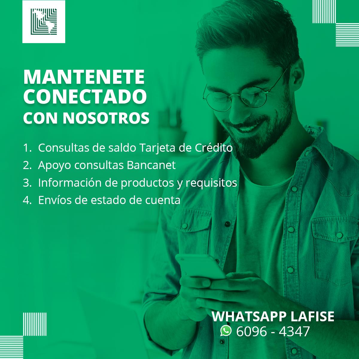 ¿Ya nos tenés en WhatsApp? 📲  ¡Agregá  nuestro número 6096-4347 y resolvé  tus consultas bancarias en minutos desde la comodidad de tu hogar! 💳🙌  ¡Cuidate y cuidá  a los tuyos! 🙌  ➡️Visitá nuestro portal aquí: https://t.co/dHFRwV5mhe  #WhatAppLAFISE #QuedateEnCasa https://t.co/IJCqMMD79G