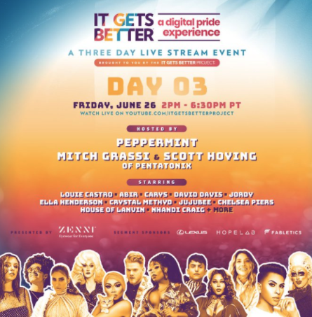 It's the final day of @ItGetsBetter Project's Digital Pride Experience hosted by @Peppermint247, and @scotthoying & @mitchgrassi from @PTXofficial.   Tune in today → https://t.co/Wlno3pbB0C https://t.co/6UthJQXLah