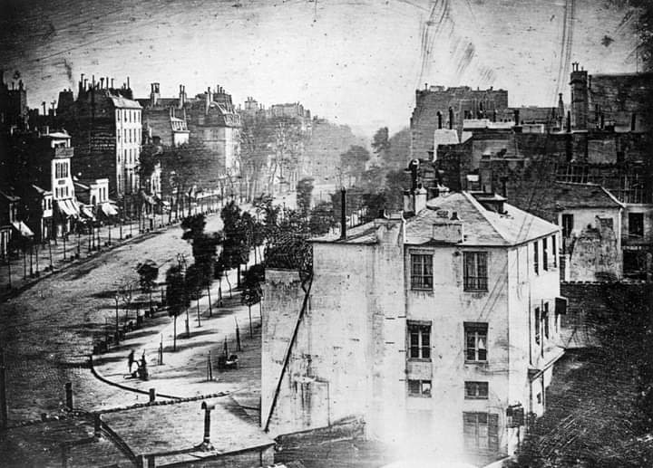 In early 1838, Louis Daguerre used his famous daguerreotype process of photography to snap a photo of the Boulevard in Paris. The streets in the photo appear deserted: this is because the exposure time for the photo was so long that the cars and trams could not be captutre. https://t.co/U43Z9IYv5G